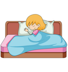 A girl sleeping on the bed vector