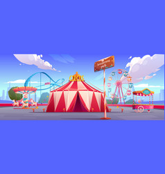 Amusement park with circus tent ferris wheel vector