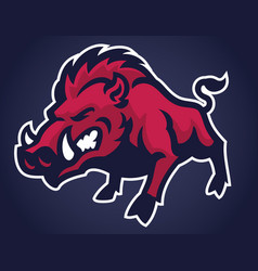Angry wild hog mascot vector