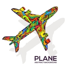 Art flying airplane with abstract colorful vector