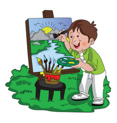 Artist painting vector