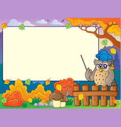 Autumn frame with owl teacher 3 vector