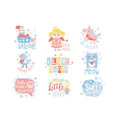 Baby nursery room print design templates set in vector