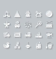 Batoy simple paper cut icons set vector