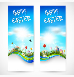 beautiful nature background with easter egg vector image
