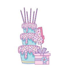 Birthday cake with gift box vector