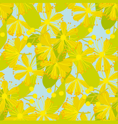 Blooming linden hand drawn seamless pattern vector