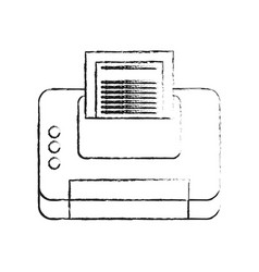 blurred silhouette cartoon printer device with vector image