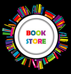Bookstore round frame with colorful books vector image