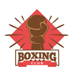Boxing five-star club emblem with hand in glove vector