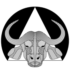 Buffalo head black and white symmetrical drawing vector image