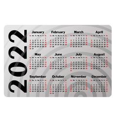 Calendar for 2022 vector