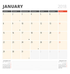 Calendar planner for january 2018 design template vector