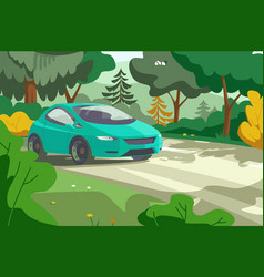 car rides on forest road vector image
