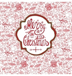 Christmas crdDoodle pattern backgroundlabel vector