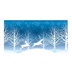 christmas with winter forest and rein vector image