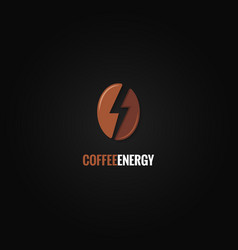coffee bean logo flash energy concept background vector image
