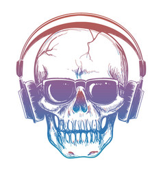 colorful sketch of skull and headphones vector image