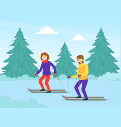 couple dressed in warm clothing skiing in winter vector image