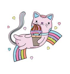Cute cat with ice cream in rainbow vector