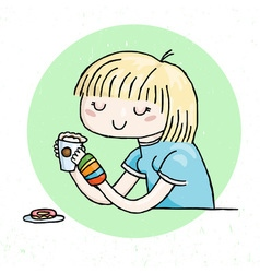 Cute doodle girl with cup of tea and donut vector
