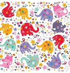Cute elephants birds flowers pattern vector