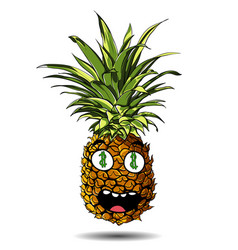 cute fresh pineapple cartoon character emotion vector image