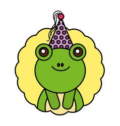 cute kawaii frog party hat vector image