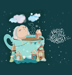 Cute little baby girl in the cup of tea vector