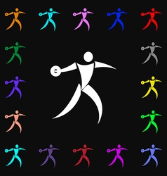 Discus thrower icon sign lots of colorful symbols vector