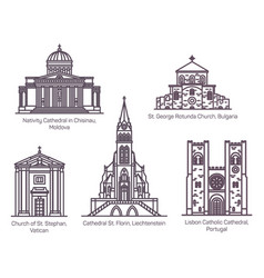 european church and cathedral buildings line set vector image