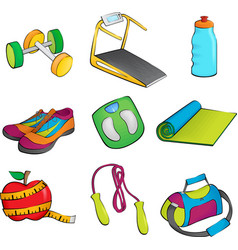 Exercise equipment icons vector