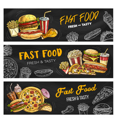 Fast food menu pizza burgers and fastfood snacks vector