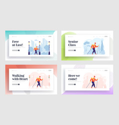 Female pensioner healthy lifestyle website landing vector