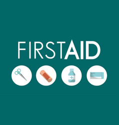 First aid kit utilities plaster painkillers vector
