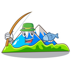 Fishing mountain scenery isolated from the mascot vector