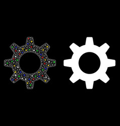 Flare mesh 2d gearwheel icon with flare spots vector