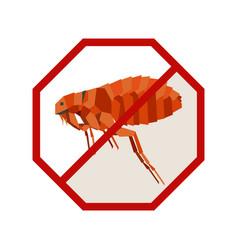 Flat geometric sign with flea vector