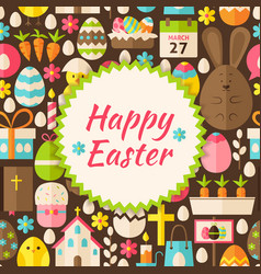 Flat pattern happy easter background vector