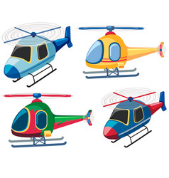 Four designs of helicopters vector