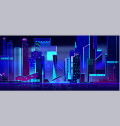 Futuristic cityscape panoramic view at night time vector