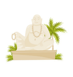 giant laughing buddha statue green palm tree and vector image