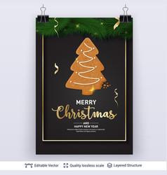 Gingerbread fir tree cookie on dark banner vector