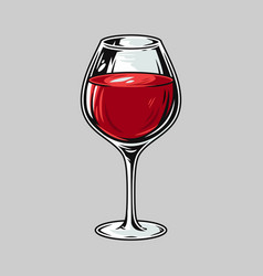 glass red alcohol wine for bar menu vector image