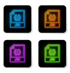 Glowing neon js file document icon download js vector