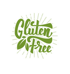 gluten free hand drawn lettering phrase isolated vector image