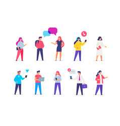 Group people use gadgets set icons vector