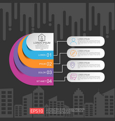 Half circle for business concept infographic with vector