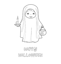 Halloween coloring page with cute ghost vector
