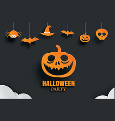 Halloween orange paper hanging in dark background vector